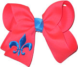 Electric Pink and Turquoise Fleur de Lis