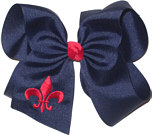 Navy and Shocking Pink Fleur de Lis