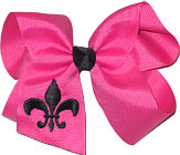 Shocking Pink and Black Fleur de Lis