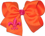 Orange and Shocking Pink Fleur de Lis
