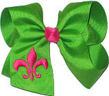 Apple Green and Shocking Pink Fleur de Lis