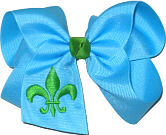 Mystic Blue and Apple Green Fleur de Lis