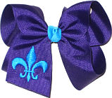 Regal Purple and Turquoise Fleur de Lis