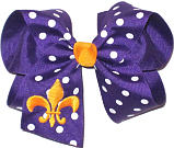 Regal Purple and White Polka Dot with Yellow Gold Monogram Fleur de Lis
