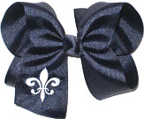 Navy and White Fleur de Lis