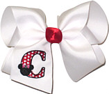 Large Monogrammed Minnie with Red Initial and Swarovski Crystal In Minnie's Red Bow Monogrammed Initial