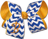 Yellow Gold Monogram on Century Blue and White Chevron Print over Yellow Gold Grosgrain Monogrammed Initial