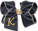 Khaki and Navy Moonstitch Monogrammed Initial