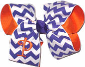 Orange Monogram on Regal and White Chevron Print over Orange Grosgrain Monogrammed Initial