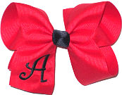 Red and Black Large Monogrammed Initial Bow