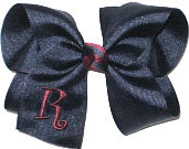 Large Burgundy and Navy Monogrammed Initial Bow