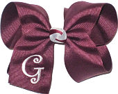 Large Burgundy and Gray Monogrammed Initial Bow