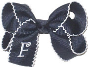 Medium Navy with White Moonstitch and White Initial Double Layer Overlay Bow