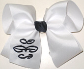 White and Black Monogrammed Triple Initial