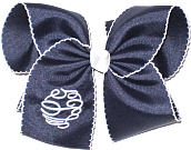 MEGA Navy with White Moonstitch White Initials and White Knot Monogrammed Triple Initial
