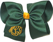 MEGA Monogram Triple Initial Forest Green and Yellow Gold