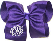 MEGA Regal Purple and White Initials Monogrammed Triple Initial Bow