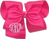MEGA Shocking Pink and Pink Triple Initial Monogrammed Bow