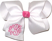 Large Hot Pink and White Monogrammed Triple Initial Circle Font Bow