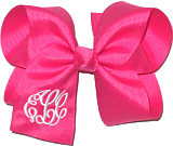 Large White and Shocking Pink Monogrammed Triple Initial Circle Font Bow