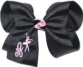 Large Black with Pink Monogrammed Initial and Ballet Dancer
