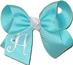 Aquamarine and White Monogrammed Initial
