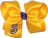 Yellow Gold and Regal Purple Large Monogrammed Initial Bow with Swarovski Crystals