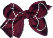 Medium Moonstitch Bow Burgundy and White