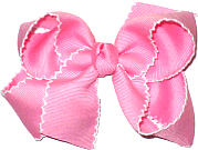 Medium Moonstitch Bow Pink and White
