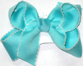 Medium Moonstitch Bow Aqua and White