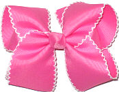 Large Moonstitch Bow Hot Pink and White