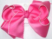 Medium Moonstitch Bow Hot Pink and White