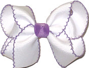 Medium Moonstitch Bow White and Orchid
