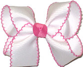 Medium Moonstitch Bow White and Hot Pink