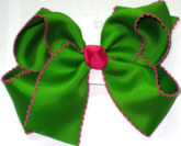 Large Moonstitch Bow Apple Green and Shocking Pink
