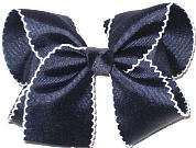 Large Moonstitch Hair Bow Navy and White