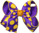 Medium Moonstitch Bow Regal Purple with Yellow Gold Moonstitch and Yellow Gold Dots