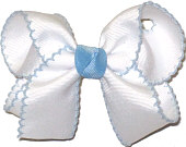Medium Moonstitch Bow White and Light Blue