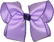 Large Moonstitch Bow Light Orchid and Regal Purple