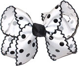 Medium Moonstitch Bow Medium White and Black Moonstitch with Black Dots