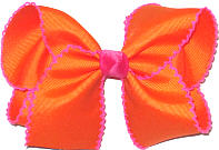 Large Moonstitch Bow Orange and Shocking Pink
