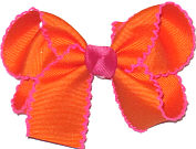 Medium Moonstitch Bow Orange and Shocking Pink