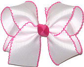 Large Moonstitch Bow White and Shocking Pink