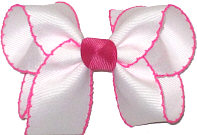 Medium Moonstitch Bow White and Shocking Pink