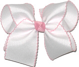 Large Moonstitch Bow White and Light Pink