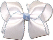 Large White and Millenium Blue Moonstitch Bow