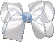 White and Millenium Blue Medium Moonstitch Bow