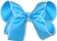 Mystic Blue and White Medium Moonstitch Bow