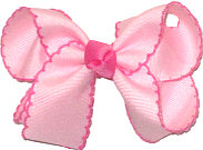 Medium Light Pink and Hot Pink Moonstitch Bow