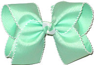 Mint and White Large Moonstitch Bow
